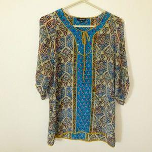 Tolani vibrant boho silk hippie dress
